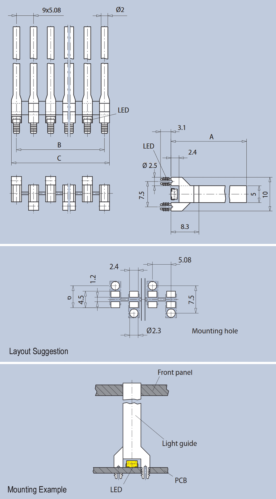 Rectangular Bar Graph Light Guides