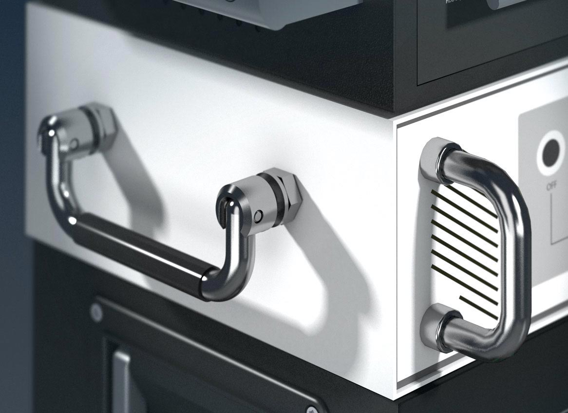 MENTOR chrome plated steel handles, mounted on device